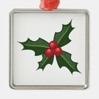 Holly Silver-Colored Square Ornament