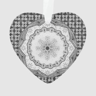 Holly & Snowflake Acrylic Heart Ornament