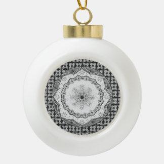 Holly & Snowflake Ceramic Ball Ornament