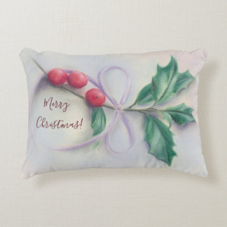 Holly with Bow Pastel Christmas and New Year Decorative Pillow