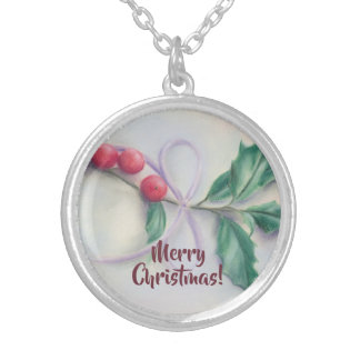 Holly with Bow Pastel Christmas Silver Plated Necklace