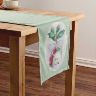 Holly with Bow Pastel Merry Christmas Medium Table Runner