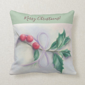 Holly with Bow Pastel Personalized Merry Christmas Throw Pillow