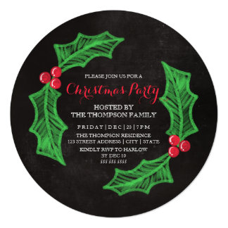 Holly Wreath Chalkboard Christmas Party Card