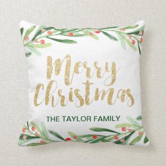 Holly Wreath Christmas Throw Pillow
