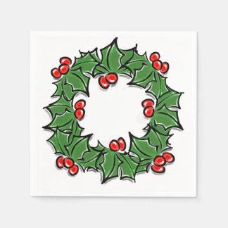 Holly Wreath Disposable Napkin