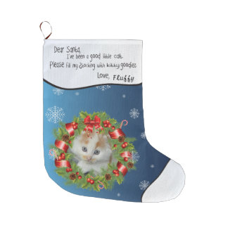 Holly Wreath Frame Personalize YOUR CAT PHOTO blue Large Christmas Stocking