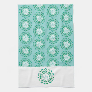 Holly Wreath Joy in Green and Blue Holiday Kitchen Towel