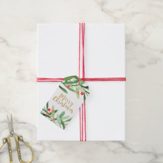 Holly Wreath Merry Christmas Name Pack Of Gift Tags