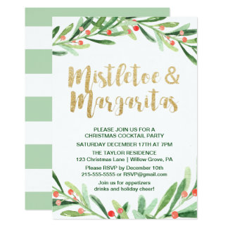 Holly Wreath Mistletoe & Margaritas Cocktail Party Card