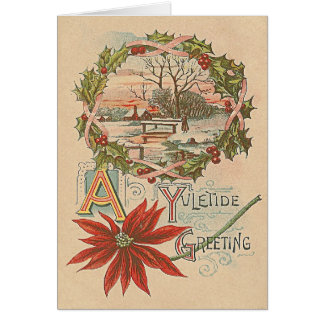 Holly Wreath Poinsettia Winter Cabin Yuletide Card