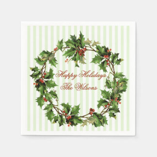 Holly Wreath Vintage Personalized Christmas Paper Napkins