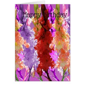 Hollyhock Blooms Of Elegance, Birthday Card