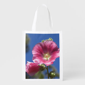 Hollyhock Blooms Reusable Grocery Bag
