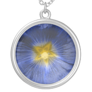 Hollyhock Flower Beautiful Blue Necklace