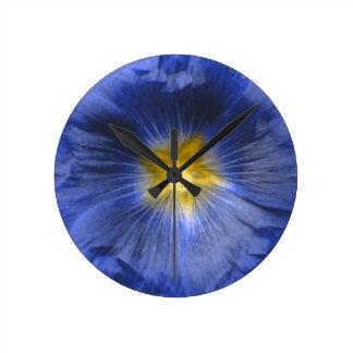 Hollyhock Flower Beautiful Blue Wall Clock