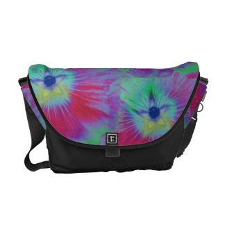 Hollyhock Flower Bright Lights Messenger Bag