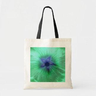 Hollyhock Flower Glowing Green Budget Tote Bag
