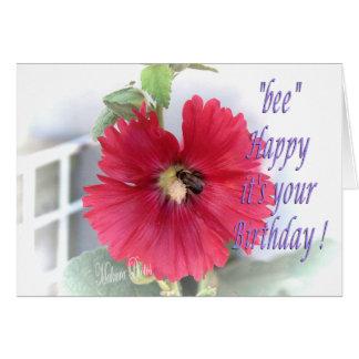 Hollyhock & Honeybee Bday Greeting Card