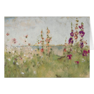 Hollyhocks by the Sea Card