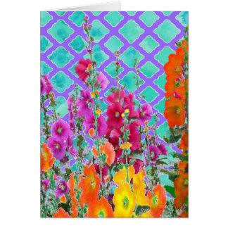 Hollyhocks-Lilac garden Lattice gifts by Sharles Card