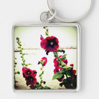 Hollyhocks on the Shore Keychain