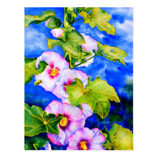 Hollyhocks Postcard