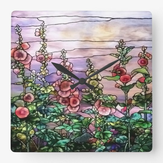 Hollyhocks Vintage Floral Tiffany Stained Glass Square Wall Clock