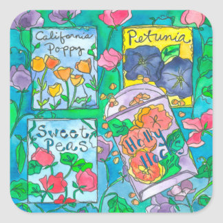 Hollyhocks Watercolor Flowers Square Sticker