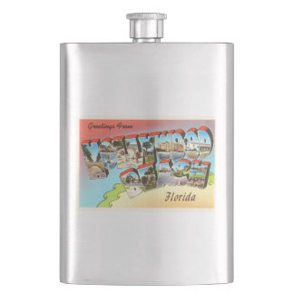 Hollywood Beach Florida FL Vintage Travel Souvenir Flask