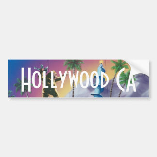 Hollywood California Palm Tree Bumper Sticker Art