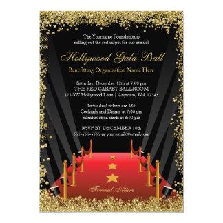 "Hollywood Gala Ball Red Carpet Glitter 5"" X 7"" Invitation Card"