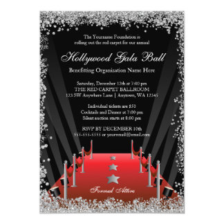 Hollywood Gala Ball Red Carpet Silver Glitter Card
