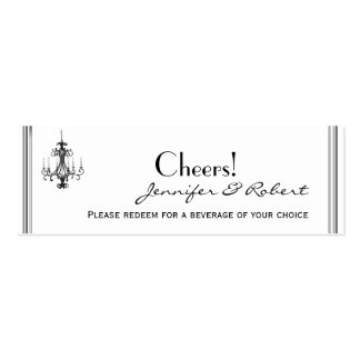 Hollywood Glamor Chandelier Wedding Drink Tickets Pack Of Skinny Business Cards