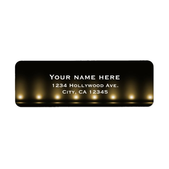 Hollywood Lights Black Address Label
