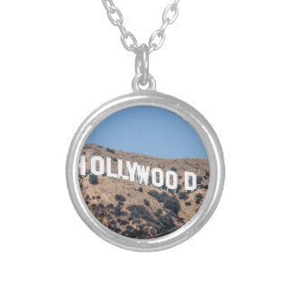 Hollywood Los America Mountains California Sky Silver Plated Necklace