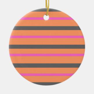 Hollywood Orange Stripes Ceramic Ornament