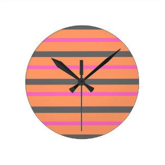 Hollywood Orange Stripes Round Clock
