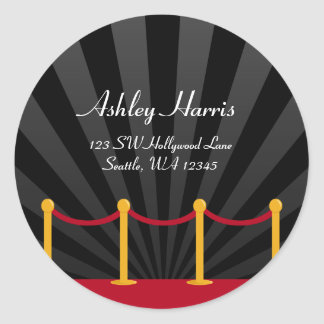 Hollywood Red Carpet Custom Address Label Round Sticker