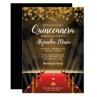 Hollywood Red Carpet Quinceanera Invitations