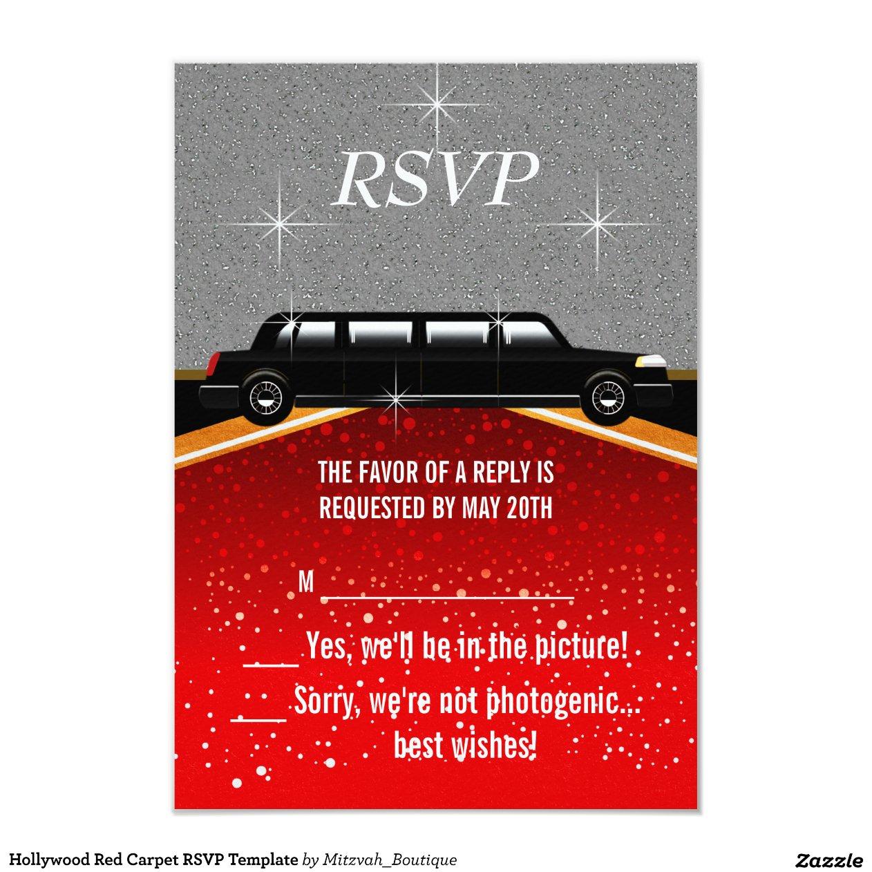 Hollywood Red Carpet RSVP Template 3.5u0026quot; X 5u0026quot; Invitation Card : Zazzle