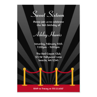 """Hollywood Red Carpet Sweet 16 Birthday Party 5"""" X 7"""" Invitation Card"""