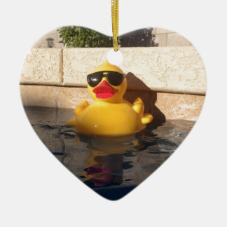 Hollywood Rubber Duckie Ceramic Heart Ornament