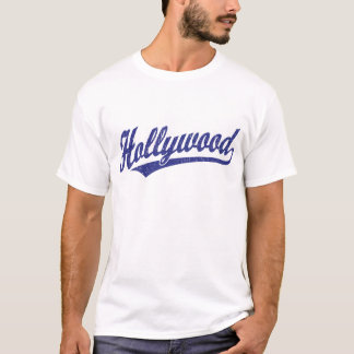 Hollywood script logo in blue distressed T-Shirt