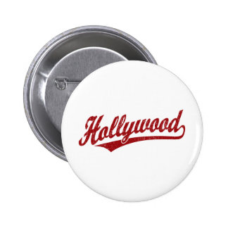 Hollywood script logo in red distressed pinback buttons