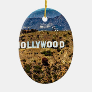 Hollywood Sign Iconic Mountains Los Angeles Ceramic Ornament