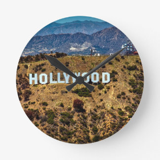 Hollywood Sign Iconic Mountains Los Angeles Round Clock