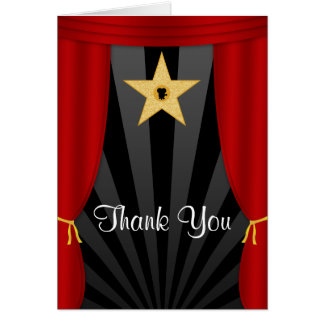 Hollywood Star Red Curtains Thank You Card