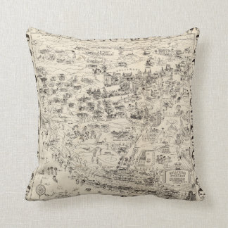 Hollywood Starland - 1937 Map of the Stars Throw Pillow