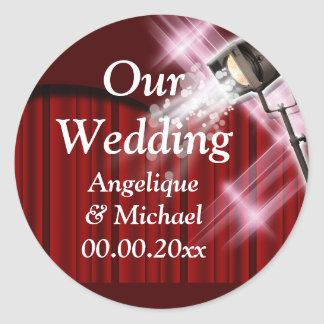 Hollywood wedding announcement couple red classic round sticker